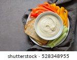 white bean hummus served in a... | Shutterstock . vector #528348955