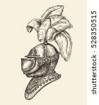 medieval knight helmet. vintage ... | Shutterstock .eps vector #528350515