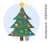 christmas tree with present... | Shutterstock .eps vector #528354544