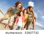 group of friends having fun on... | Shutterstock . vector #52837732