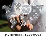 a businesswoman pushes a button ... | Shutterstock . vector #528389011
