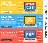 learn html and css  learn... | Shutterstock .eps vector #528389641