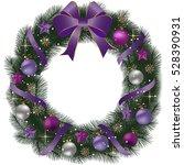 christmas wreath with fir... | Shutterstock .eps vector #528390931