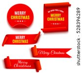 Set of red Christmas banners. Ribbons and round sticker. Paper scrolls. Vector illustration. | Shutterstock vector #528396289