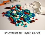 colorful of oral medications on ... | Shutterstock . vector #528415705