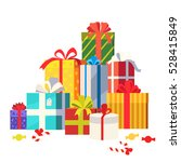 big pile of colorful wrapped...   Shutterstock .eps vector #528415849