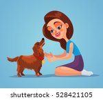 woman owner character play with ... | Shutterstock .eps vector #528421105