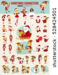 collection of christmas cartoon ... | Shutterstock .eps vector #528424501