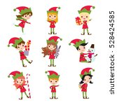 set of elves kids cartoon... | Shutterstock .eps vector #528424585