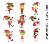 Set Of Elves Kids Cartoon...