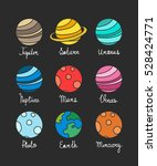 doodle icons. solar system... | Shutterstock .eps vector #528424771