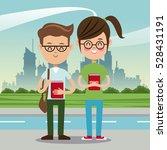 boy and girl student nerd urban ...   Shutterstock .eps vector #528431191