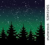 night forest on dark starry... | Shutterstock .eps vector #528431431