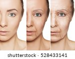 Small photo of Beauty concept skin aging, anti-aging procedures on caucasian woman face