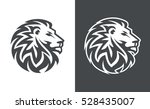 Stock vector abstract lion head logo template suitable on black and white background 528435007