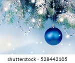 blue christmas ball hanging on... | Shutterstock . vector #528442105