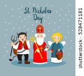 saint nicholas devil and angel. ...   Shutterstock .eps vector #528471181