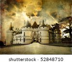 mysterious castle Chaumont on sunset - artistic picture - stock photo