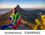 girl holding a south african... | Shutterstock . vector #528489001