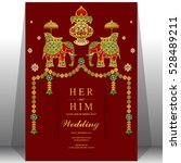 indian wedding card  elephant... | Shutterstock .eps vector #528489211