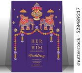 indian wedding card  elephant... | Shutterstock .eps vector #528489217