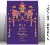 indian wedding card  elephant... | Shutterstock .eps vector #528489217