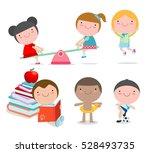happy cartoon kids playing ... | Shutterstock .eps vector #528493735