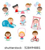 cute children playing with toys ... | Shutterstock .eps vector #528494881