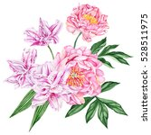 pink lilies and peonies.... | Shutterstock . vector #528511975