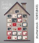 advent calendar  wood house...   Shutterstock .eps vector #528518431