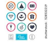 wedding  engagement icons. love ...   Shutterstock . vector #528532219