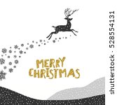 merry christmas postcard.... | Shutterstock . vector #528554131