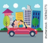 driver with car and woman | Shutterstock .eps vector #528562771
