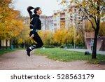woman feet jumping  using... | Shutterstock . vector #528563179