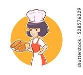 woman chef bakery fresh shop...   Shutterstock .eps vector #528576229
