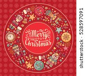 xmas wreath. greeting christmas ... | Shutterstock . vector #528597091