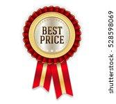 red best price badge   rosette... | Shutterstock .eps vector #528598069