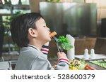 cute asian child eating... | Shutterstock . vector #528600379