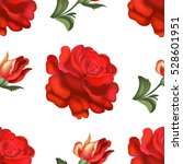 Stock vector seamless red roses pattern vector illustration 528601951
