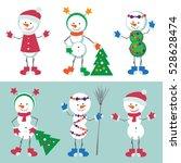 set of snowman vector... | Shutterstock .eps vector #528628474