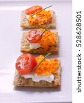 whole grain crackers with... | Shutterstock . vector #528628501