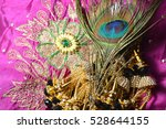 peacock feather on fabric | Shutterstock . vector #528644155