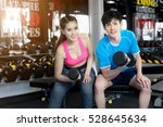 couple working out with... | Shutterstock . vector #528645634