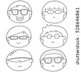 Vector Set Of Cartoon Face Wit...
