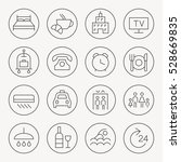 hotel thin line icon set   Shutterstock .eps vector #528669835