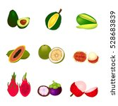set of different tropic fruits... | Shutterstock .eps vector #528683839