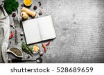 book of recipes. fresh spices...   Shutterstock . vector #528689659