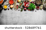 big set of spices and herbs. on ... | Shutterstock . vector #528689761