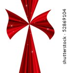 big shiny red bow with... | Shutterstock . vector #52869104