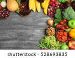 fruits and vegetables on wooden ... | Shutterstock . vector #528693835